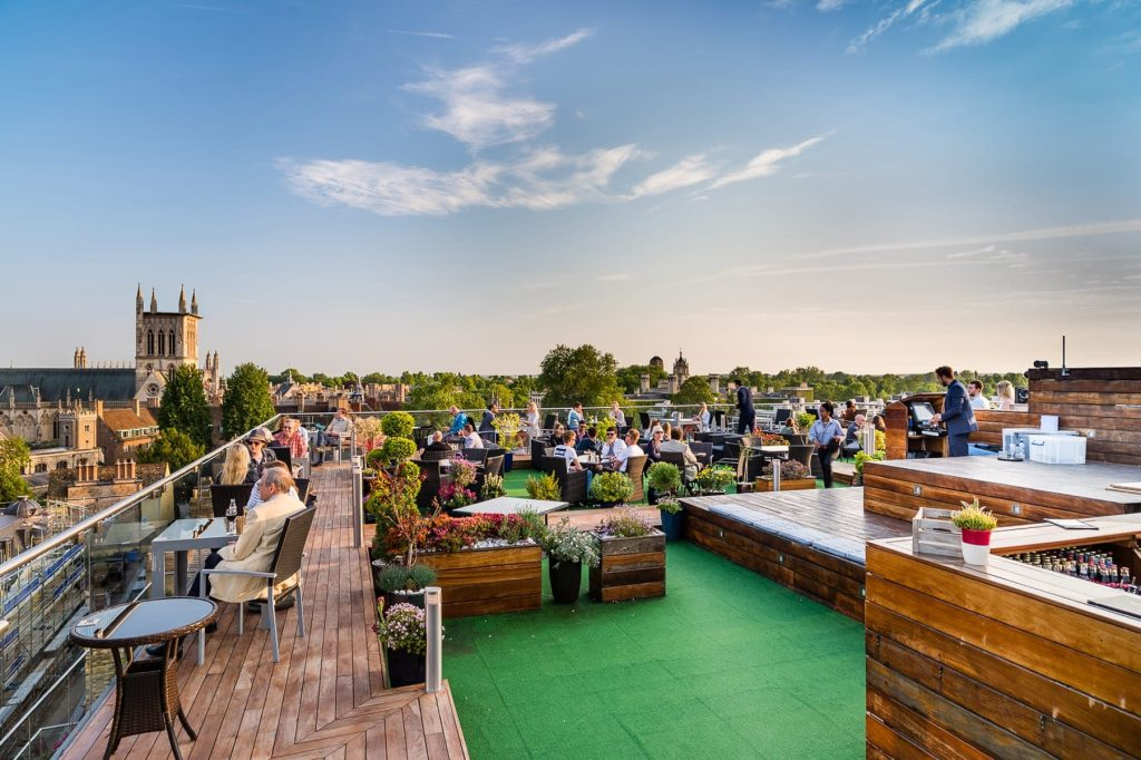 Rooftop bar in Central Cambridge
