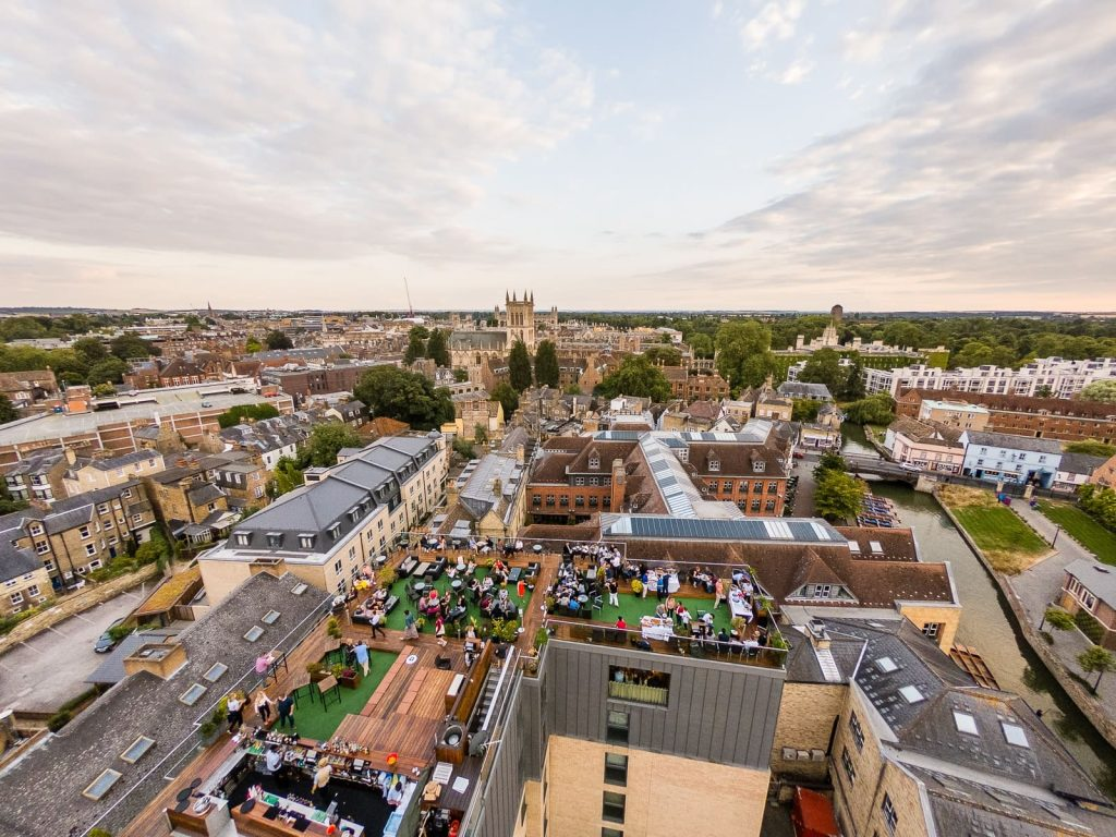 Panoramic image of Roof Terrace bar in Cambridge