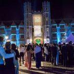 uplit cambridge university at night